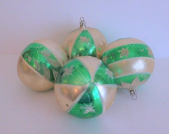 Four Vintage Mercury Glass West Germany Christmas Ornaments