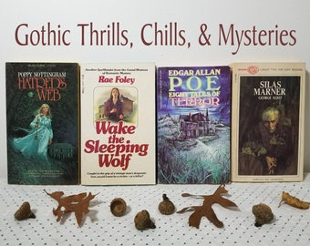 Vintage 1960's, 1970's Lot of 4 Paperback Books. Gothic, Mysteries, Spooky, Scary, October Halloween Reads. Nottingham, Foley, Poe, Eliot.