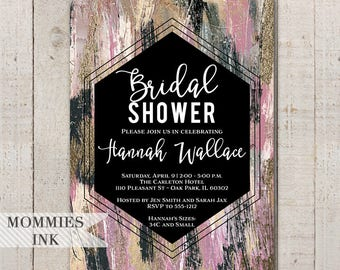 Abstract Bridal Shower Invitation, Mauve and Gold Invitation, Brush Stroke Invitation, Modern Invitation, Shower Invite, Abstract Invite