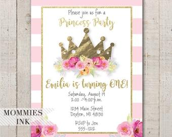 Girls First Birthday Invitation, Princess Party Invitation, Princess Invitation, 1st Birthday Invite, Princess First Birthday Invitation