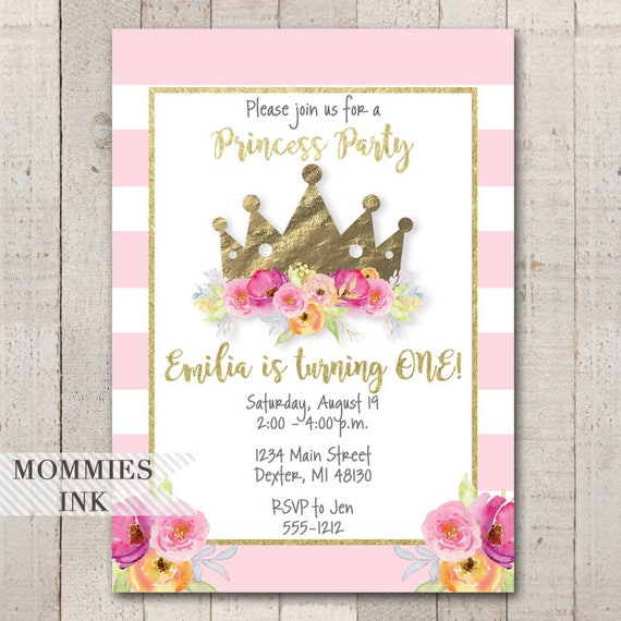 Girls first birthday invitation princess party invitation princess il570xn filmwisefo