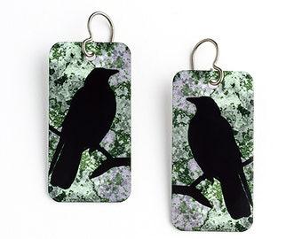 Raven Earrings. Raven Aluminum Print Rectangles on Titanium Ear Wires.