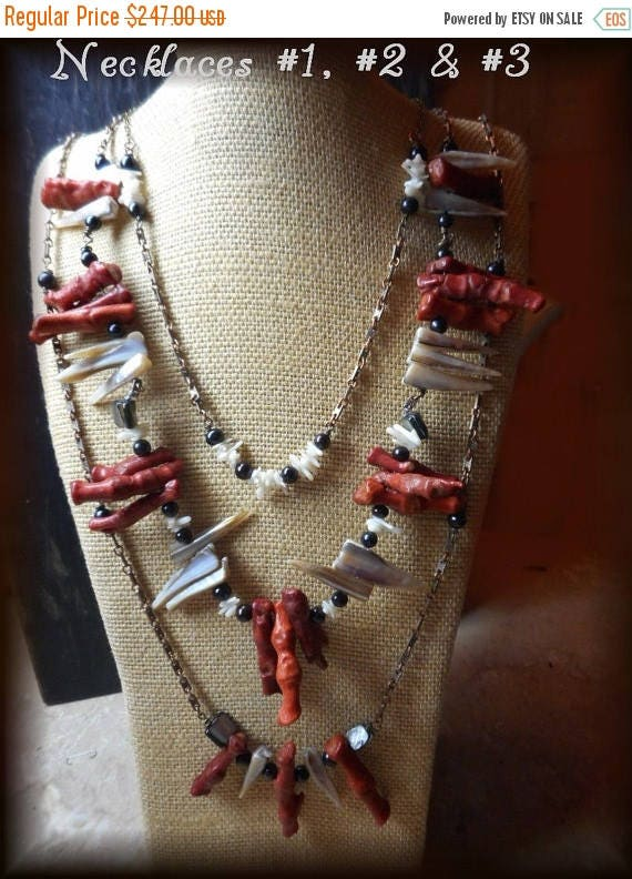 CALYPSO Wild Untamed & Refined Opulent Neck Art ensemble Coral Branch Ash Black Cultured Pearl Abalone talisman necklace