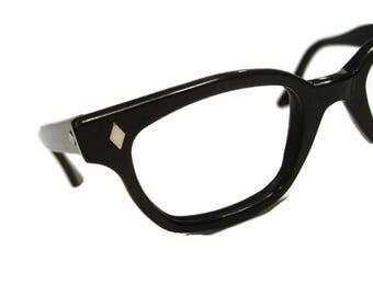 Vintage 1950s Black Nylon Hornrim Eyeglasses Eyewear Frame USA