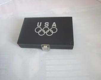 Leather DECK of CARDS CADDY Box Olympic Souvenir