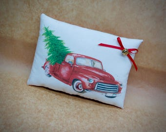 Vintage Red vehicle pillow | Christmas truck | Antique truck decor | Gift for him | Stocking stuffer | Christmas decoration