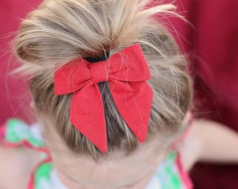 Petite Peanut Bitty Bow Headband - Solid Red - Baby Girl Toddler - (Made to Order)