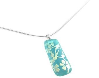 Pastel Pendant Necklace, Aqua & Gold Cherry Blossom, Dichroic Glass