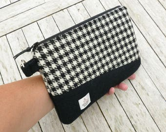 HARRIS TWEED clutch, black and white houndstooth with bright pink lining, Scottish gift