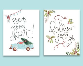 Retro Christmas Print Set of TWO - Set of Two Holiday Prints, Holiday Gallery Wall, Watercolor Print Set, Christmas Art Print, Cute Holiday