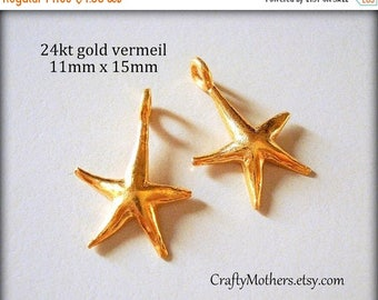 8% off SHOP-WIDE, TWO Bali 24kt Vermeil Starfish Charms, 15mm x 11mm, artisan-made jewelry supplies, earrings