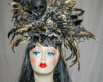One size fits all ready to ship metallic black and gold day of the dead skull hair piece