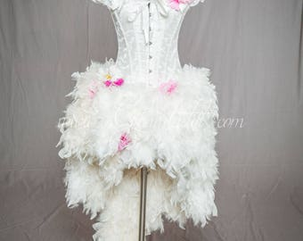 Ready to ship size small LIGHT UP Ivory and Hot Pink daisy Burlesque Corset Feather high low day of the dead witch costume Dress