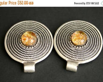 BACK to SCHOOL SALE Two (2) Viking Brooches. Silver Apron Pins with Amber Lampwork Glass. Silver Shield Norse Shoulder Brooches. Historical
