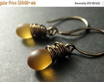 BACK to SCHOOL SALE Clouded Amber Earrings: Teardrop Earrings Wire Wrapped in Bronze - Elixir of Nectar. Handmade Earrings.