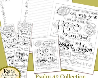 Psalm 42 Why So Downcast O My Soul Coloring Collection Bible Journaling Traceable