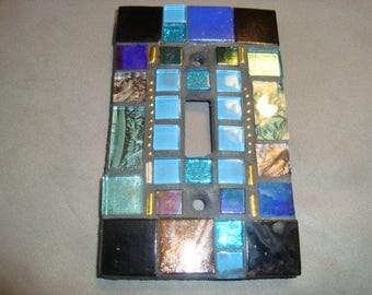 MOSAIC Light Switch Plate -  Wall Plate, Single Switch, Blue, Wall Art, Black, Gold,