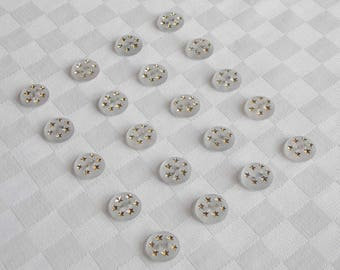 20  beautiful 2-hole  frosted  glass  buttons with really nice tiny golden stars ( 16 mm -5/8 in.)