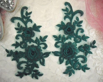 """3D Embroidered Bridal Appliques Emerald Green Floral Venice Lace Mirror Pair 8"""" Sewing Supplies DIY (DH91X-emgr)"""