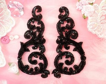 "Sequin Appliques Black Mirror Pair w/ Beads Dance Costume Motif Patch Sewing or Crafts DIY 6.75"" (0514X-bk)"