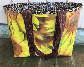 Giant sunflowers--large reversible  oilcloth tote bag