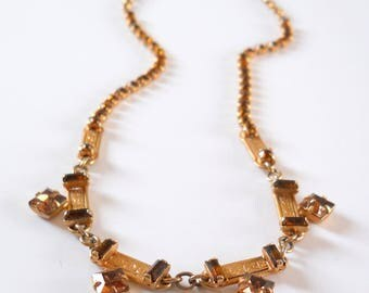 Vintage Leo Glass Necklace • Amber Rhinestone Gold Color Necklace