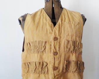 1950s Vintage Hunting Vest • Made in Hong Kong Canvas Vest • WFS mediun Tan Canvas Vest