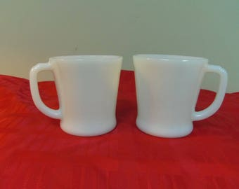 Fire King Mugs, D Handle, White, Anchor Hocking, 2, 8 oz Marked