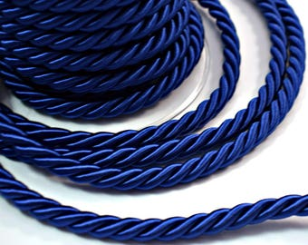 Twisted silk cord, 9mm, bright blue satin rope, 1 meter