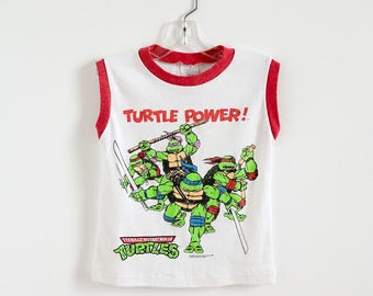 "Vintage 1980s Boys Size 5-6 Shirt / Teenage Mutant Ninja Turtles TMNT Cotton Sleeveless Muscle T-Shirt / b26"" L16"""