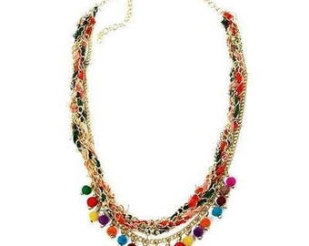 Multicolor Kantha Carnival Necklace
