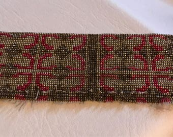 Vintage French metal  colored bead swatch for repurpose or bead stock copper tone faceted red purse panel French Textile for bead stock
