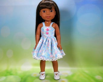 Designed for 14.5 inch dolls such as Wellie Wishers, Blue and Pink Floral Sun Dress, 05-2098
