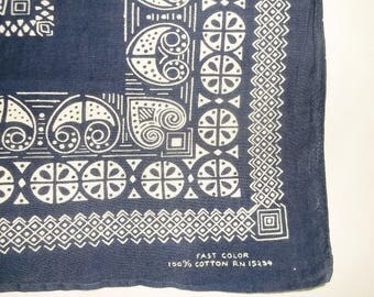 Vintage blue & white Cotton Bandanna • fast color bandana