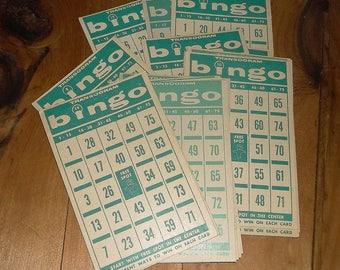 34 vintage Green BINGO Transogram Cards