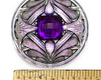 1pc 42mm Vintage Art Nouveau PURPLE Lilac AB Double DRAGONFLY Czech Glass Button