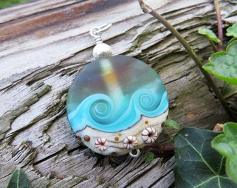 """Large pendant """"BEACH-FANTASY VIII"""" - hand-crafted lampwork bead, sterling silver - one of a kind!"""
