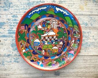 "Vintage 10"" ceramic plate Mexican pottery folk art of wedding celebration unique wedding gift"