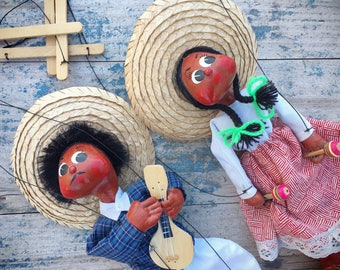 Mexican Marionettes Man Woman Music Instruments, Mexican Puppet Folk Art, String Puppets