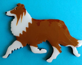 Sheltie Pin, Magnet or Ornament -Color Choice -Free Shipping -Hand Painted Shetland Sheep Dog