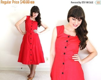 ON SALE 1940s Dress / 40s Dress / 1940s Red Pinafore Dress