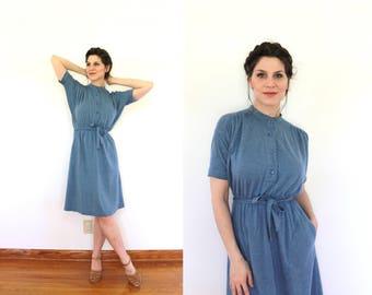 Sweater Dress / 1970s Dress / 70s Dress / 1970s Blue Dress / 70s Blue Flannel Knit Batwing Sweater Dress