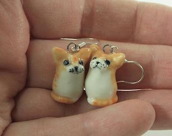 Cute miniature ginger tabby cat earrings ceramic cat earrings ceramic tabby cat figurine ceramic cat figurine by Anita Reay ginger kitten