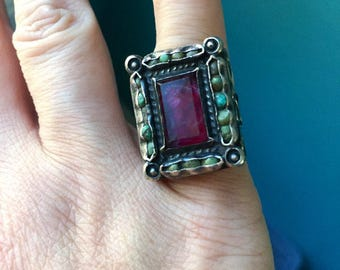 Matilde Poulat Matl Ring - Amethyst and Turquoise - Sterling Silver - Vintage