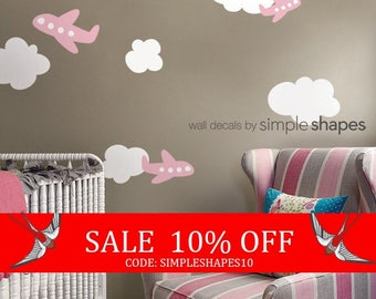 Summer Sale - Airplanes with Clouds Decal Set - Kids vinyl Wall Sticker