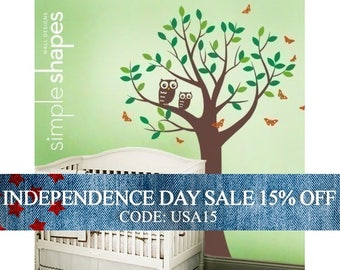 Independence Day Sale - SALE Today ONLY!  Use Coupon Code SIMPLESHAPES10 for 10% off -  Tree with Two Owls and Butterflies Decal Set -