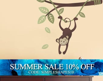 Monkey Hanging on a Branch Vine - Kids Vinyl Wall Sticker Decal Set