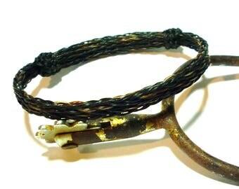 Horsehair Adjustable Bracelet - Black and Dark Sorrel Reversable Triple Braid