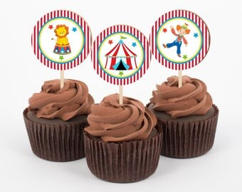 Circus Cupcake Toppers, Birthday Cupcake Toppers, Circus Birthday Party, Circus Party Decorations, Cupcake Toppers, Instant Download