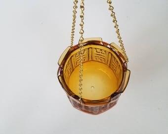 Amber Glass Hanging Planter Pot